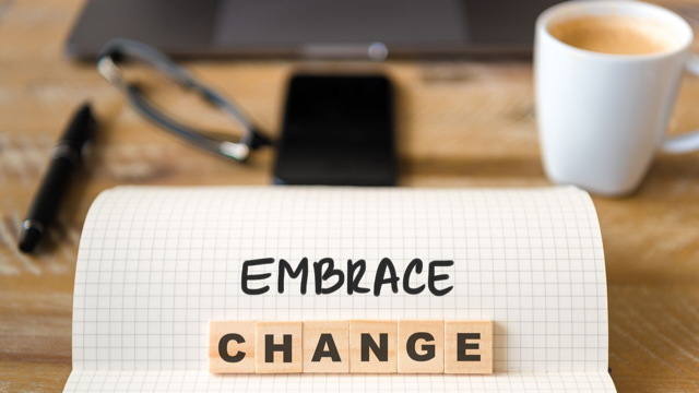 Image with words, 'embrace change'