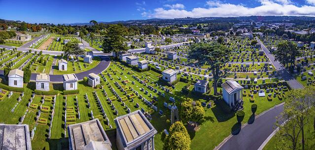 Drone image of a cemetery