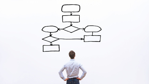 Image of a man analyzing a flow chart