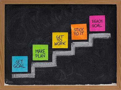 Image of goals written on sticky notes placed on steps up