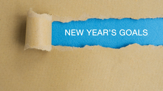 Image with writing saying, 'new year's goals'
